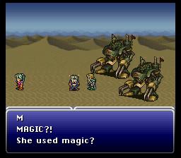 Contrairement à nous, habitués à la magie dans un RPG, Locke est tellement surpris qu'il commente son utilisation par Terra en plein combat. Cette dernière lui tourne le dos, embarrassée voire honteuse.
