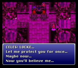 Méfiante et introvertie, Celes n'avait jamais exprimé sa gratitude envers Locke jusqu'à ce qu'il doute de sa loyauté. On saisit mieux sa souffrance en assistant à la manifestation de sa reconnaissance.