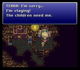 Terra préfère œuvrer pour les orphelins que contre Kefka. Rien de plus logique la connaissant.
